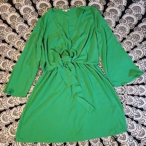 Topshop Green Long Sleeve Tie Front V Neck Dress